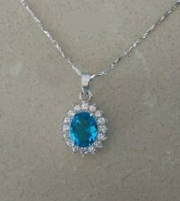 """18"""" Chain Sterling Silver Crystal Heart of the Ocean Necklace Pendant Gift BoxS2"""