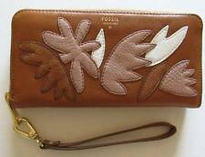 Fossil Sydney Pink Floral Accordion Leather Zip Clutch Wallet SL6996677 NWT