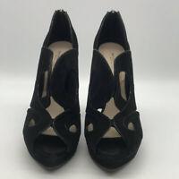 Bottega Veneta Black Suede Peep Toe Heels Size 40/10