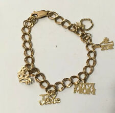 14k Yellow Gold Charms On 10k Yellow Gold Double Link Bracelet(8 Grams)
