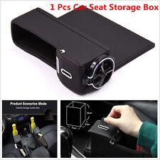 1pcs Black Coin Side Pocket Car Seat Wedge Gap Storage Box Organizer+Cup Holder