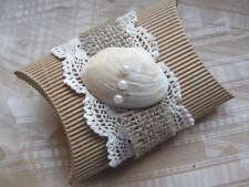 Vintage Beach Themed Wedding Favours - Guipure Lace, Shell & Burlap/Hessian