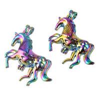 5X Multicolor 3D Unicorn Pearl Cage Pendant DIY Essential Oil Diffuser Necklace