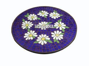 48'' Marble Dining Table Top Mosaic Semi Precious Inlay Hallway Outdoor Decor