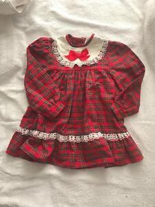 Girls true vintage red tartan frill bib dress by Cheerleaders age 18/24 months