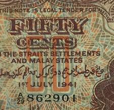 A/29 862901  1941 Malaya KGVl 50 cents banknote very nice