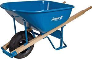 Wheelbarrow 6 cu. ft. Heavy Gauge Seamless Steel Tray with Hardwood Handles