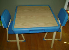 VINTAGE Fisher Price Child Size Table 2 Chairs Preschool Arts & Crafts Blue RARE