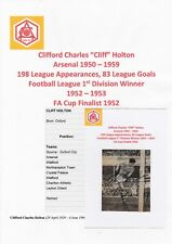 CLIFF HOLTON ARSENAL 1950-1959 RARE ORIGINAL HAND SIGNED NEWSPAPER CUTTING