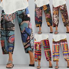 ZANZEA para mujeres Cintura Elástica Pantalones Largos Pantalones Asimétrico Estampado Floral