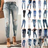 Womens High Waist Skinny Denim Jeans Pants Ripped Stretch Slim Frayed Trousers