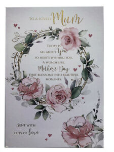 To A Lovely Mum Flower Wreath Words & Hearts Mother's Day Card Lovely Verse