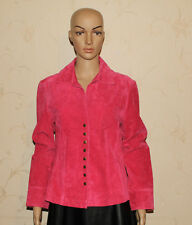 Rose Pink Leather LIVE A LITTLE Popper Fitted Hip Length Jacket Blazer Size M