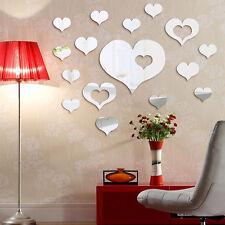 16pcs Romantic Love Hearts Decor Home Room Mirror Art Wall Stickers Decals DIY