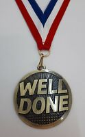 WELL DONE MEDAL 25TH 30TH 40TH 50TH ANNIVERSARY  ENGRAVED FREE GOLD MEDAL RIBBON