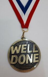 WELL DONE ANNIVERSARY MEDAL+ENGRAVING.CONGRATULATIONS 25TH 30TH 40TH 50TH 60TH