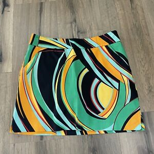Loudmouth Ladies Golf Striped Skort Multicolor Geometric Size 4 Skort Skirt EUC