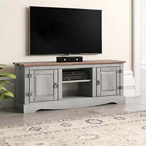 Solid Wood TV Stand Vintage Room Cabinet Rustic Grey Furniture Large Media Unit
