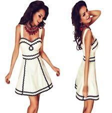Sz M 10 12 White Black Sleeveless Skater Prom Cocktail Evening Party Dance Dress