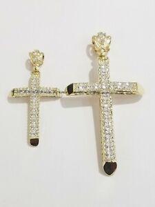 "2"" 3"" 10k Yellow Gold Cross Charm Pendant Men's Real 10KT Gold Jesus Crucifix"