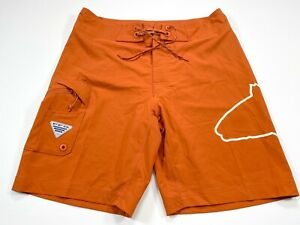 Columbia PFG Fish Series Size 32 Orange Board Shorts UPF 50 Men's NEW NWT