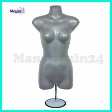 Grey Silver Female Torso Dress Mannequin Form Metal Stand Hanging Hook
