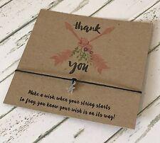 Thank You Kraft Boho Feathers Card Wish String Charm Bracelet Gift Tag #165