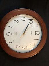Seiko Wood R-Wave Radio Controlled Round Wall Clock - Rare Hechinger German