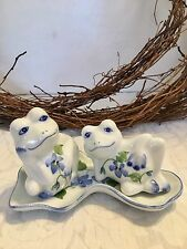 Frogs  Salt & Pepper Shakers with Small Tray Platter Andrea by Sadek