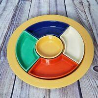Vintage Fiestaware Original Color Relish Tray Divided Serving Set HLC AS IS