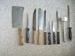 10 pc. Game Butcher Deer Venison Processing Hunting Set: Knives Steel Cleaver Ma