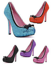 Leg Avenue Princess 5 In. Glitter Pump with Bow and Scallop Trim, 5 Colors!