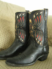 Famous Vintage ACME AMERICAN EAGLE Cowboy Boots !! Striking Inlay!! Men's 9.5 D