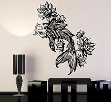 Vinyl Wall Decal Golden Fish Aquarium Lotus Flower Asian Style Stickers 1116ig