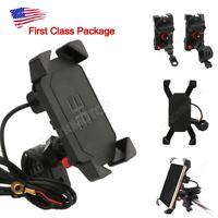 US Motorcycle Bike ATV Cell Phone GPS Handlebar Mirror Mount Holder USB Charger