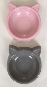 2 Pack Cat Bowl Plastic - Cute Cat Face & Ears - Pink & Grey - Food Water Feeder