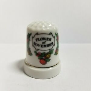 "Porcelain November Flower of the Month ""Chrysanthemum"" Thimble"