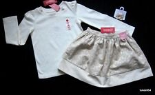 Gymboree Beautiful Luxe Gold Winter White Skirt Top Shirt Hair 7 8 NWT New