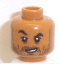 Lego Medium Dark Flesh Head x 1 Stubble Beard Dual Sided Head for Minifigure