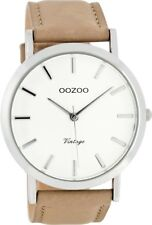 Genuine OOZOO 45mm Silver White Dial Watch With Sand Leather Strap  C8115