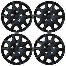 4 Pc Set Hub Cap Abs Matte Black 14 Inch Rim Wheel Skin Hubcaps Cover Caps Fits Plymouth Breeze