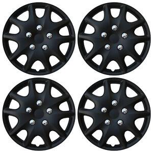 "4 PC Set Hub Cap ABS MATTE BLACK 14"" Inch Rim Wheel Skin Hubcaps Cover Caps"