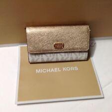 NWT Michael Kors White Gold Jet Set Large Phone Crossbody Wallet Signature New