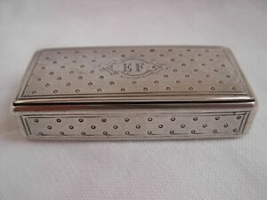 ANTIQUE FRENCH SOLID SILVER SNUFF BOX,LATE 19th CENTURY.