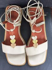 Leather Sandals Size 5 Cream Beige Leather Flats By Wonders