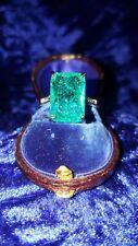 Diamond Cut Emerald Green Stone Crystal Ring Size M US 6
