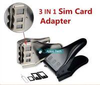 NEW Black and Silver 3 in 1 Sim Micro Nano Sim Card Cutter For all Mobile Sim