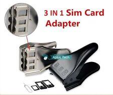 NUOVA nera e argento 3 in 1 SIM MICRO NANO SIM CARD CUTTER per tutte le sim mobile