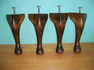 4 x Queen Anne Wooden Furniture Legs Beech 9'' For Bed Sofa Stool Armchair Tnuts