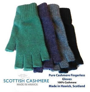 Pure Cashmere Fingerless Ladies Gloves  - Made in Hawick, Scotland